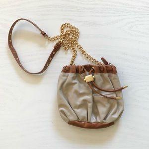 Badgley Mischka Brown & Tan Leather Crossbody Bag